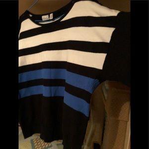 Black, blue & white striped pull over sweater.
